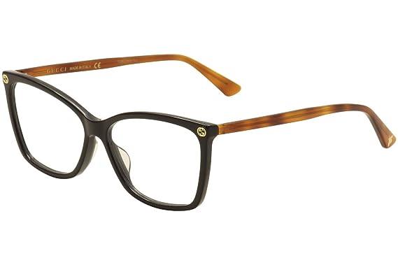 Amazon Gucci Gg0025o Optical Frame 003 Black Avana 56 Mm Clothing