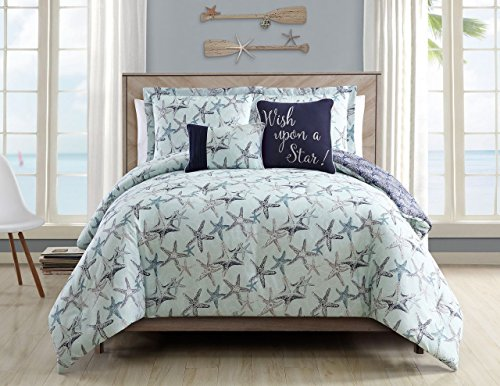 5 Piece Cabrillo Beach Mint Reversible Comforter Set Cal King (Piece Comforter 5 Ensemble King)
