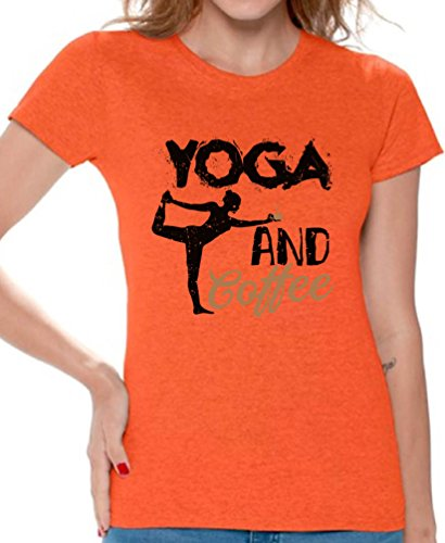 Awkward Styles Women's Yoga and Coffee Graphic T Shirt Tops Workout Fitness Coffee Top Orange M