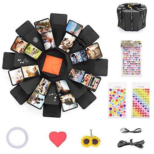 EKKONG Explosion Box, DIY Photo Album, Gift Box with 8 Faces for Wedding Box, Birthday Gift, Anniversary & Mother's Day(Black)