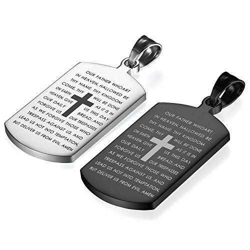 Flongo Men's Vintage 2PCS Stainless Steel English Bible Lords Prayer Dog Tag Name Cross Pendant Necklace, 21 inch -