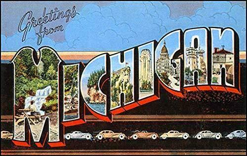 MAGNET 3x5 inch Vintage Greetings from Michigan Sticker (Old Postcard Art Logo mi) Magnetic vinyl bumper sticker sticks to any metal fridge, car, signs