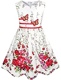 Girls Dress Rose Flower Double Bow Tie Party Sundress