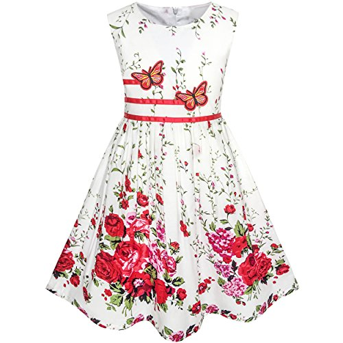 Sunny Fashion KH33 Girls Dress Flower Party Size 7-8 White