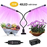 Indoor Plant Grow Light,20W Clip USB Grow Light with Timer,JEKOMI [2018 Upgraded Version]Plant Grow Lamp with 40 LED 9 Dimmable Levels,Red/Blue Spectrum, 3/9/12H Timer,3 Switch Modes