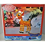 Product Works 32-Inch Pre-Lit 3D Rudolph with Santa Hat and Scarf Christmas Yard Decoration, 120 Lights