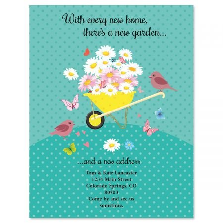 Home & Garden Moving Announcements Postcards - Set of 24, Personalized with Address, 5-1/4
