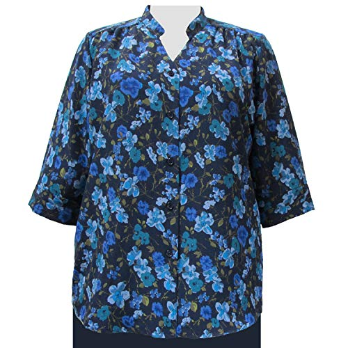 A Personal Touch Women's Plus Size 3/4 Sleeve Mandarin Collar Button-Front Blouse - Blue Happy Days - 0X