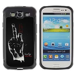 ZAKO Cases / Samsung Galaxy S3 I9300 / Hand Sign Middle Finger Peace / Robusto Prueba de choques Caso Billetera cubierta Shell Armor Funda Case Cover Slim Armor