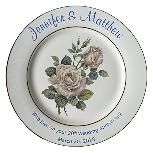 20th Anniversary Plate - Heritage Pottery Personalized Bone China Commemorative Plate for A 20th Wedding Anniversary - White Rose Design with 2 Silver Bands