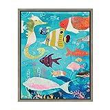 Kate and Laurel - Sylvie Colorful Ocean Fish Digital Art Framed Canvas Wall Decor, Gray 18 x 24