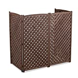 Brown Outdoor 4 Panel Wood 60'' Height Air Conditioner Screen Privacy Fence Hideaway