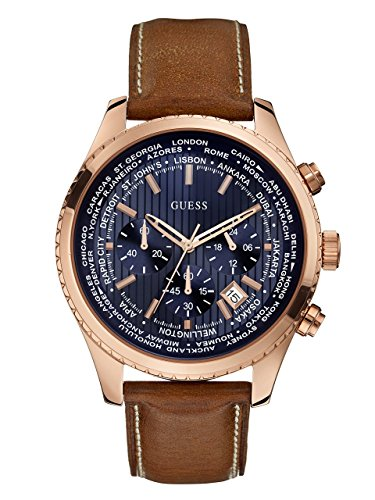 GUESS Men's Stainless Steel Casual Leather Watch, Color: Rose Gold-Tone/Brown (Model: U0500G1)