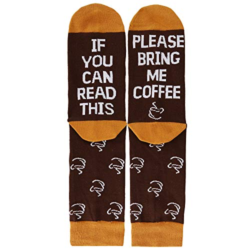 Novelty Funny Saying Cotton Crew Socks for Women, If You Can Read This Bring Me Coffee