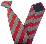 Clip On Block Stripe School Ties (Colour & Size Variations) (14 inch clip on (Junior School), Red & Grey)