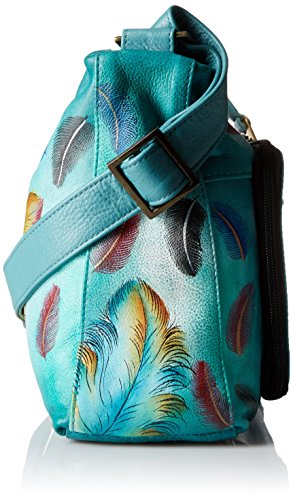 Anuschka handbemalte Ledertasche, Schultertasche für Damen, Geschenk für Frauen, Handgefertigte Tasche mit Fach- Twin-Top Zip Entry, multi compartment handbag (Floating Feathers 479 FFT) Floating Feathers