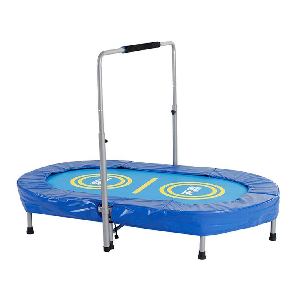 Blaue ovale Doppel-Farbe, Silent Mini mit Adjustable Handrail, Indoor-Rebounder für Erwachsene und Kinder, Perfect Urban Cardio Workout Home Trainer, Max Load 220 lb
