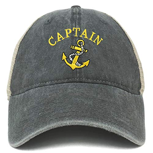 c67d4346b Armycrew Oversize XXL Captain Anchor Logo Embroidered Washed Trucker ...