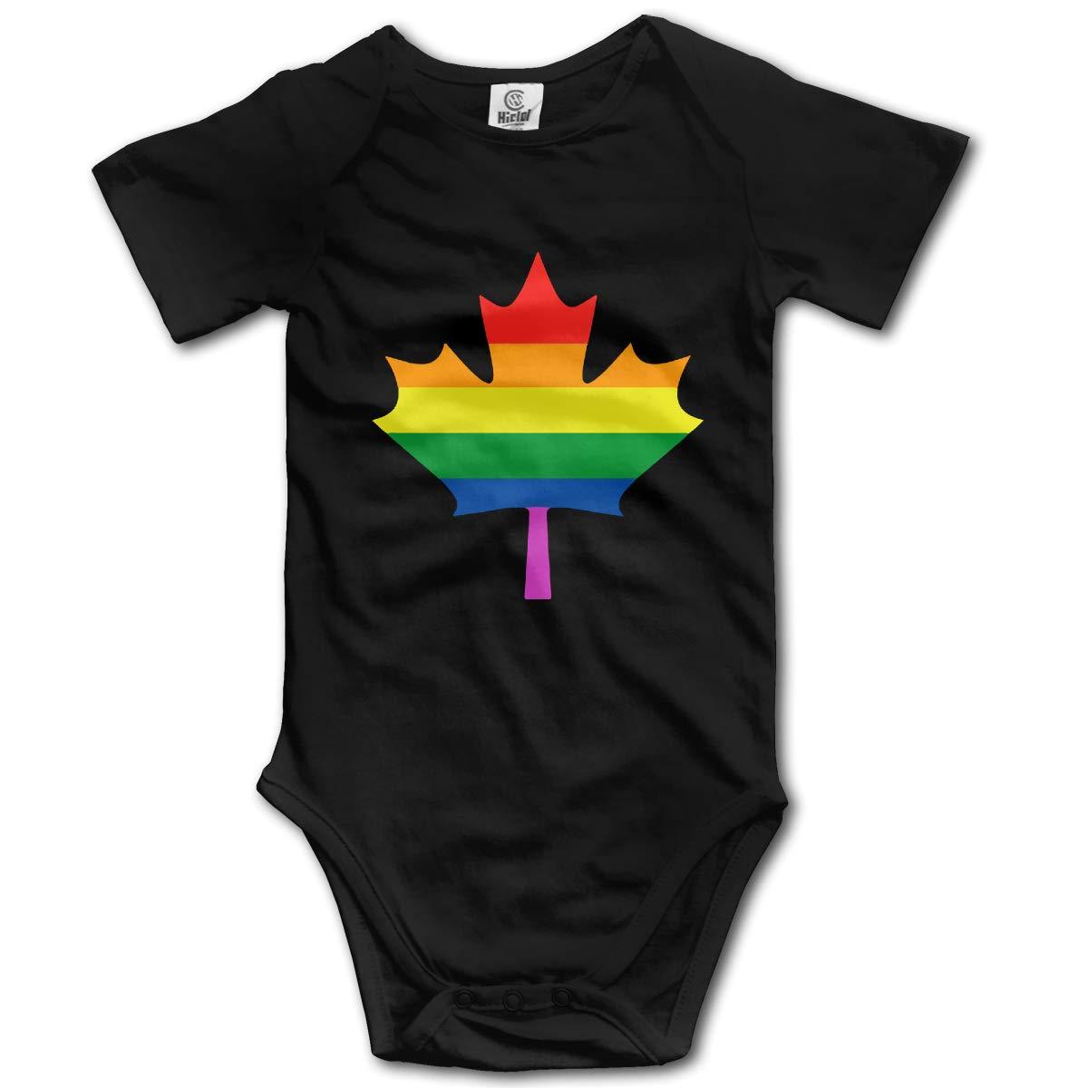 Canadian Rainbow Maple Leaf Unisex Solid Baby 100/% Organic Cotton Bodysuit Rompers 0-24M