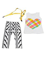 Lestore Girls Sets 2PCS Rainbow Love Sleeveless Shirt/Tops & Overalls Clothes