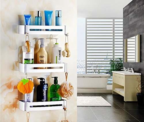 YAOHAOHAO Bathroom shelving bath rooms, rack, aluminum ADB support. single wall-layer bath rooms shower Rack Rack (Color (a) by YAOHAOHAO (Image #4)