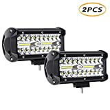7 Inch LED Light Bar 2pcs 240W 24000LM Spot Flood Combo Beam Triple Row Off Road Light Pods Work Lights for UTV ATV SUV Jeep Truck Tractor Pickup Boat 2 Years Warranty (2Pack-240W Combo Light)