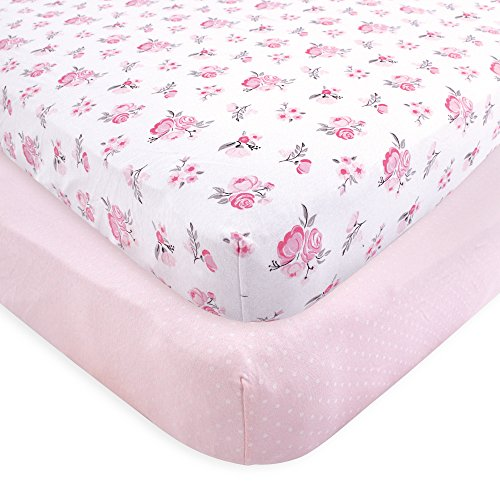 Hudson Baby Cotton Fitted Crib Sheets, 2 Pack, Floral, One Size