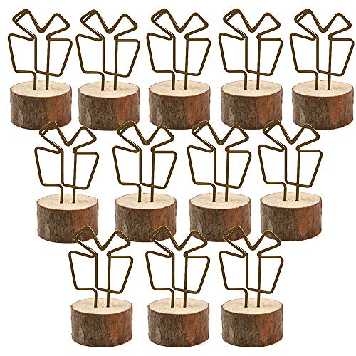 - Amytalk Wooden Base Place Card Holder, 12 Sets Real Wood Table Numbers Card Holders with Gift Box Metal Shape, Table Card, Photo Card, Menu Card, Name Card Holder Memo Clips Memo Holders(Gift Box)