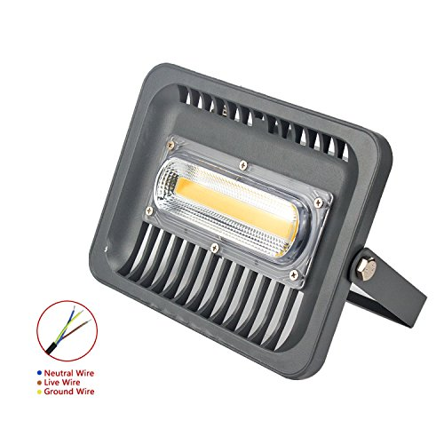 ASIGN 50W LED COB Outdoor Flood Lights, Warm White Security Light 4800lm 300W Halogen Bulb Equivalent 3000K Soft White IP66 Waterproof Wall Lamp for Garage Backyard Gate Driveway, etc.