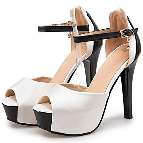 COOLCEPT Damen Mode Knochelriemchen Sandalen Peep Toe Stiletto Schuhe White