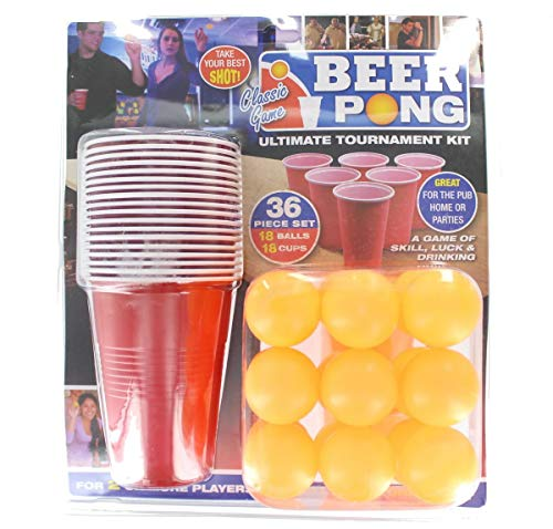 36 Piece Beer Pong Ultimate Tournament Kit Cups & Balls Adults Drinking Game Set]()