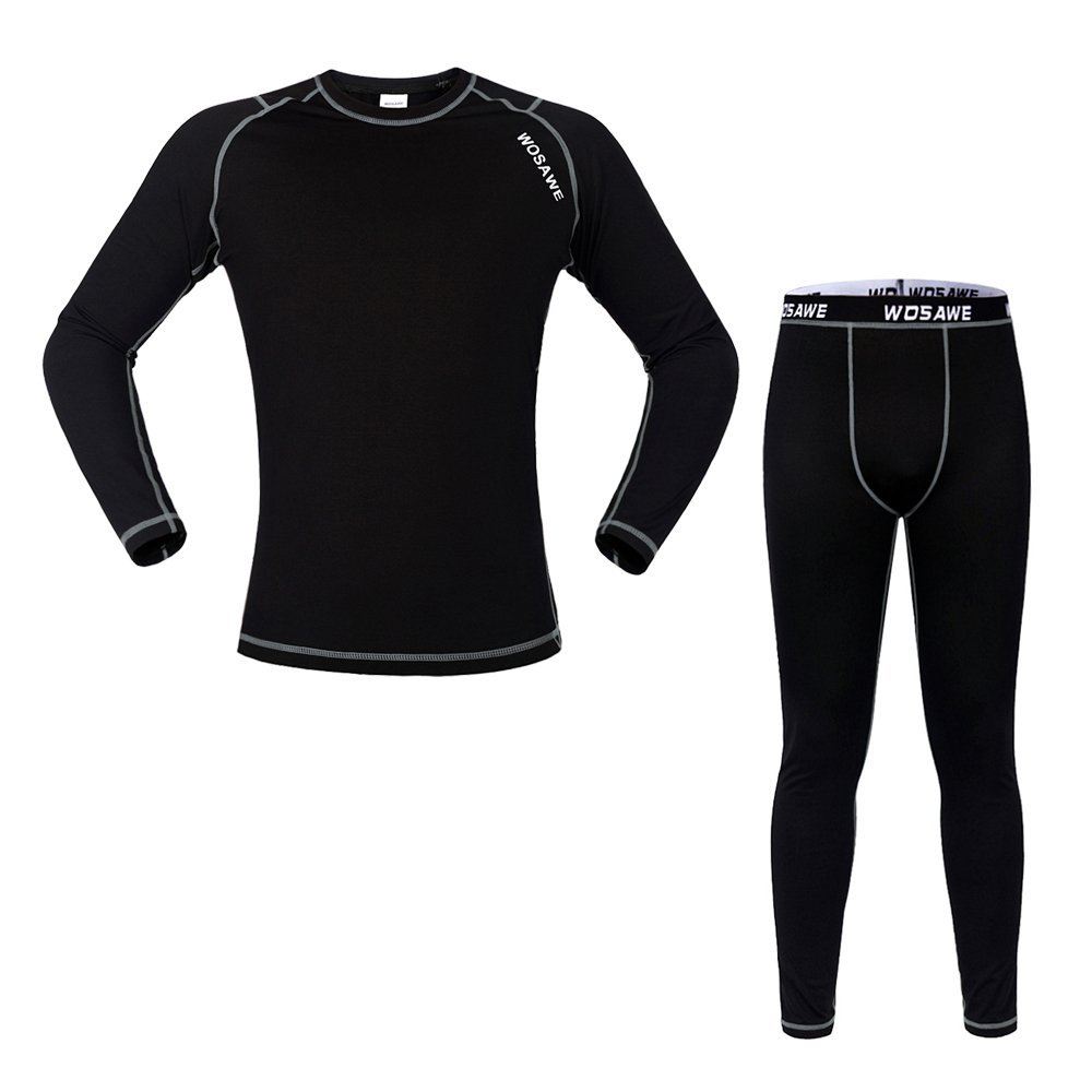 WOASAWE Men's Thermal Fleece Base Layer Sports Fitness Workout Shirt Pants WOSAWE
