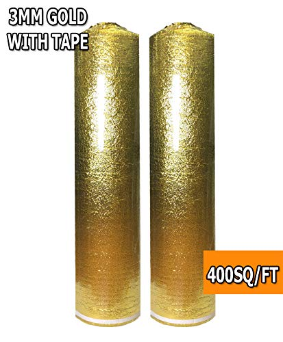 400 SQFT: AMERIQUE 4TH. Generación de oro de lujo de 3 mm de grosor, acolchado para piso, espuma 3 en 1 resistente con cinta...