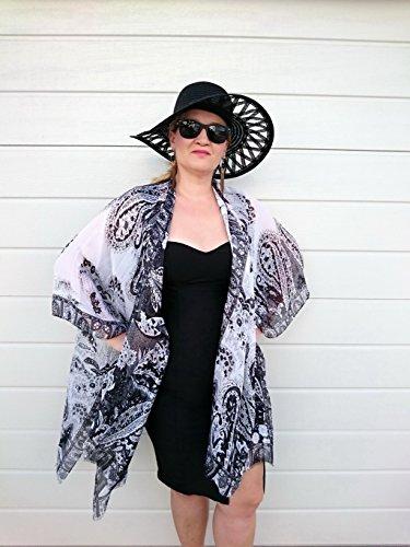 Black and White Kimono, Silk Duster Jacket, Plus Size Robe ()