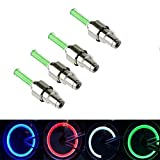 WHOSEE 4-Pack Green Bike Bicycle Car Wheel Motorcycle Tire Valve Cap Neon Lamp LED Flash Light For Sale
