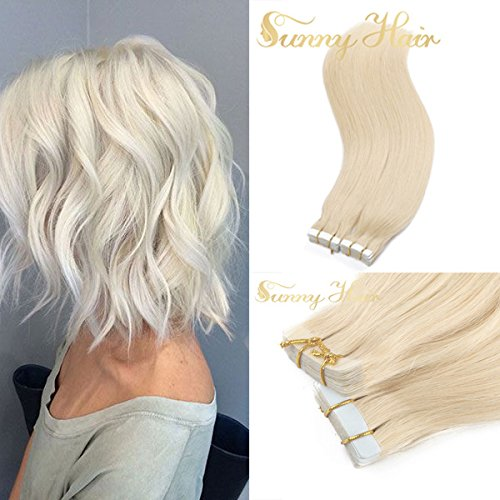 "Sunny 16"" White Blonde #60 Tape in Premium Real Human Hair Extensions 10pcs 25Gram Straight Women Beauty Salon Style"