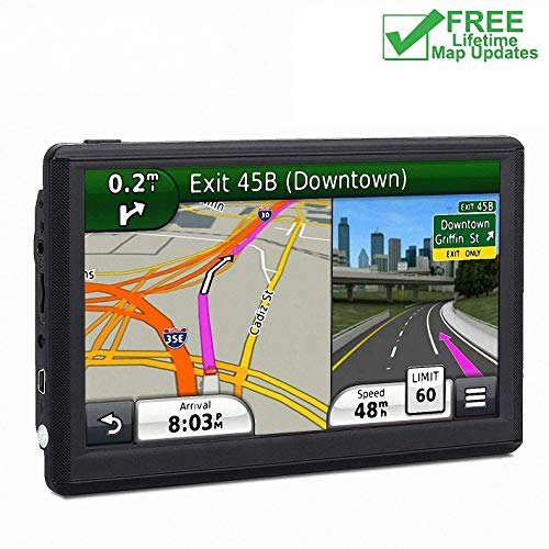 7 inch Navigation System for Cars, Car GPS 8GB Spoken Turn- to-Turn Vehicle GPS Navigator Sat-Nav, Lifetime Map Updates