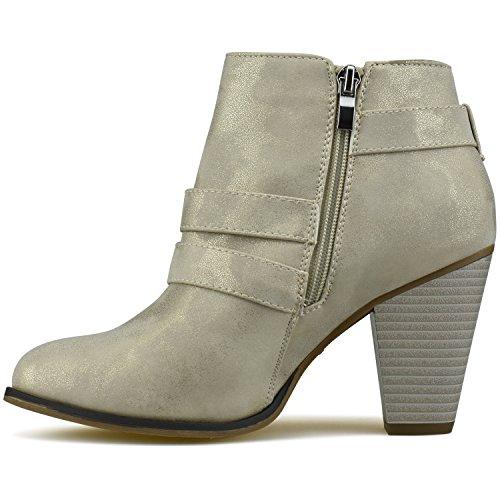 Block Booties Champagne Standard Premier Ankle Strap Premier Heel Buckle Women's PIOwx06