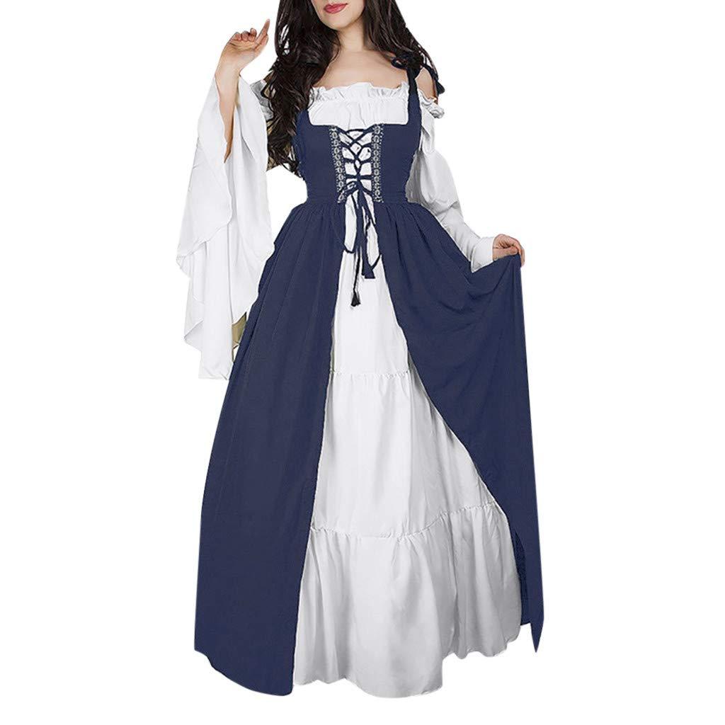 WUAI-Women Gothic Dress, 2019 Bandage Corset Medieval Renaissance Vintage Dresses Evening Gowns Witch Dress(Navy,XXX-Large by WUAI-Women