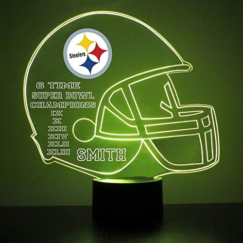 ittsburgh Steelers Football Helmet LED Night Light with Free Personalization - Night Lamp - Table Lamp - Featuring Licensed Decal ()