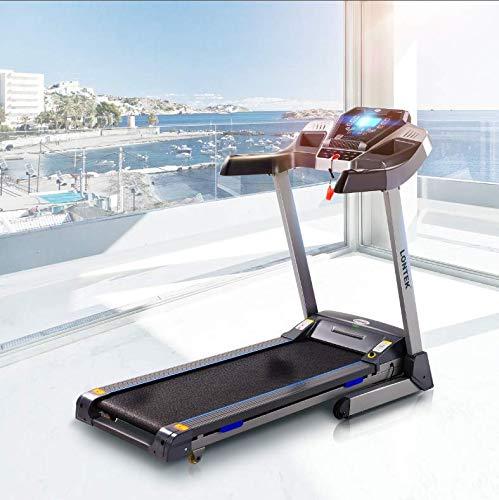 LONTEK Laufband mit Schmiersystem Pulssensor GEH- und Lauftraining mit 12 Programmen kompakt klappbar Leise Verstaubar automatische Steigung Treadmill DC Motor Fitness Training