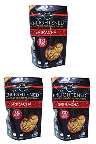 "NEW LARGER BAG! Enlightened Roasted Fava Broad Beans ""The Good-For-You Crisp"" (Pack of 3) - 30% MORE CRISPS! (Sriracha)"