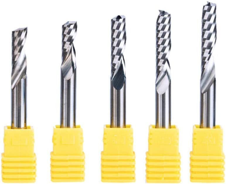 Drill Bit Sets 2Pc/Set 6Mm One Flute Spiral Cutter Router Bit Cnc End Mill For Mdf Carbide Milling Cutter Tugster Steel Router Bits For Wood-62Mm6Mm Durable And Strong 12mm*6mm