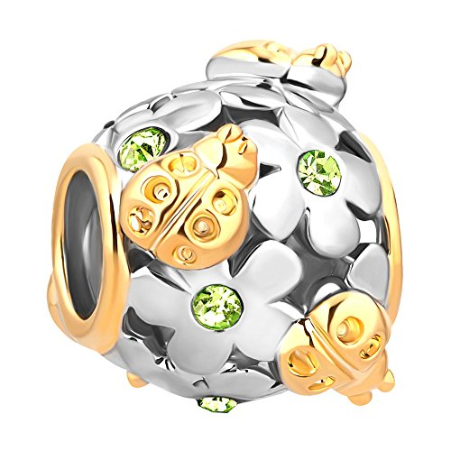 (Q&Locket Ladybug Flower Charm Filigree 2 Tone Spacer Charms for Bracelets (Green))