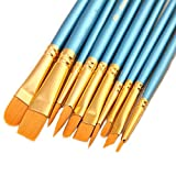 ONE HAPPY CHOICE 1 Set of 10 Pieces Synthetic Hair Paint Brushes, Blue, for Acrylic, Oil and Watercolor Painting