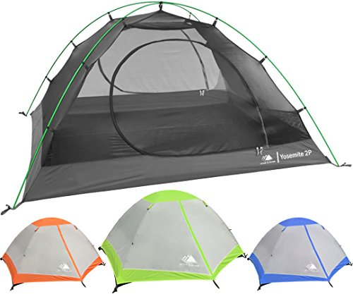 Hyke & Byke Yosemite Two Person Backpacking Tent with Footprint – Lightweight, Spacious Interior, Easy to Set Up, Compact, and Durable Design (Lime Green)
