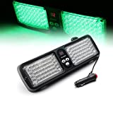 Xprite Green SunShield High Power Emergency Warning Commercial Truck Boat Car 86 LED Strobe SMD 3528 High Power Super Bright Flash Strobe Lights Visor for Maximum Visibility with 12 Flashing Patterns