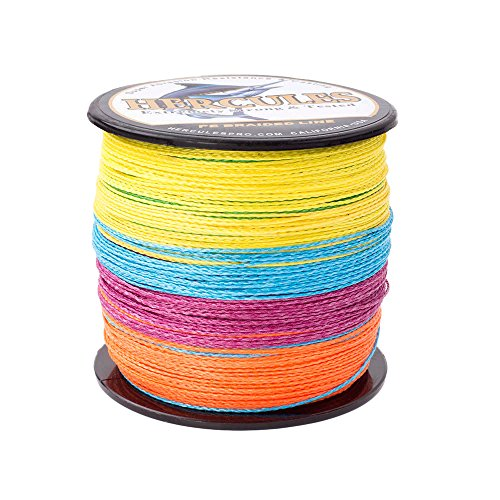 HERCULES Super Strong 300M 328 Yards Braided Fishing Line 100 LB Test for Saltwater Freshwater PE Braid Fish Lines 4 Strands - Multicolor, 100LB (45.4KG), 0.55MM (Fishing Line For Sharks)