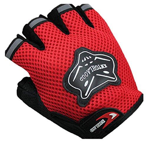 LEERYA Summer Bike Half Short Cycling Finger Gloves (Red)