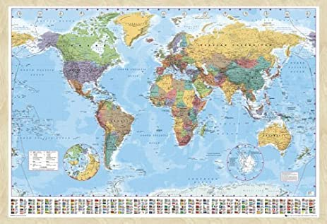 Amazon iposters world map pin board framed in beech wood iposters world map pin board framed in beech wood includes pins 965 x 66 cms gumiabroncs Image collections